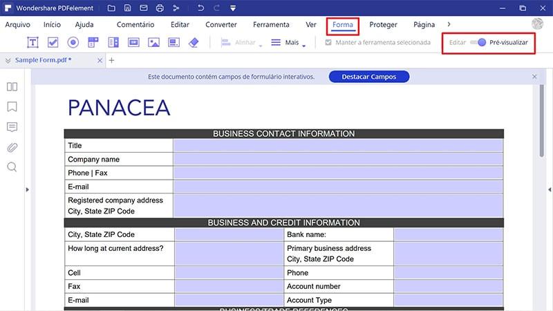 como tornar um formulário pdf editável