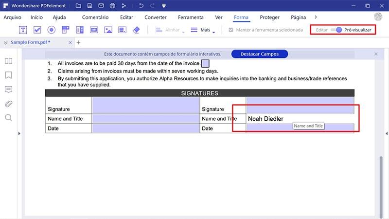 converter um pdf num formulário preenchível