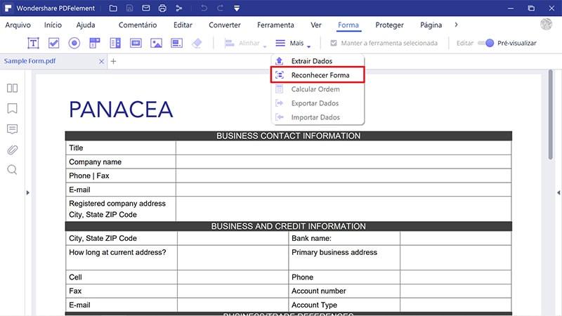 reconhecimento de campos de formulário