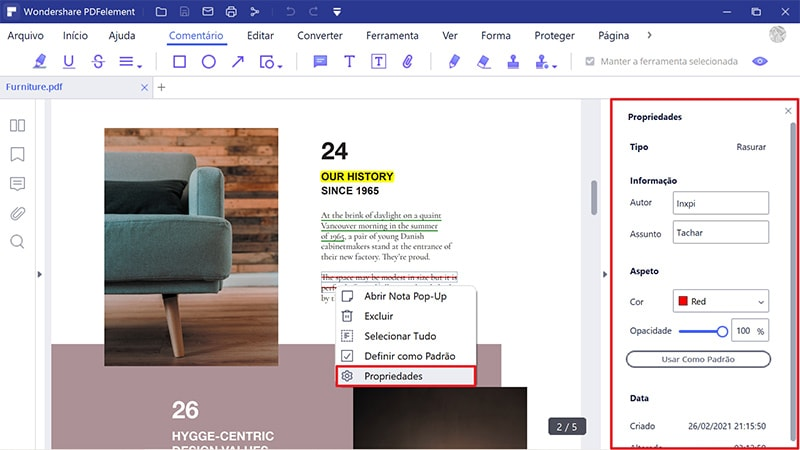 Como alterar a cor de realce num pdf