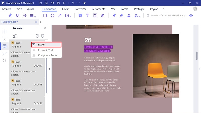como deletar marcação no pdf