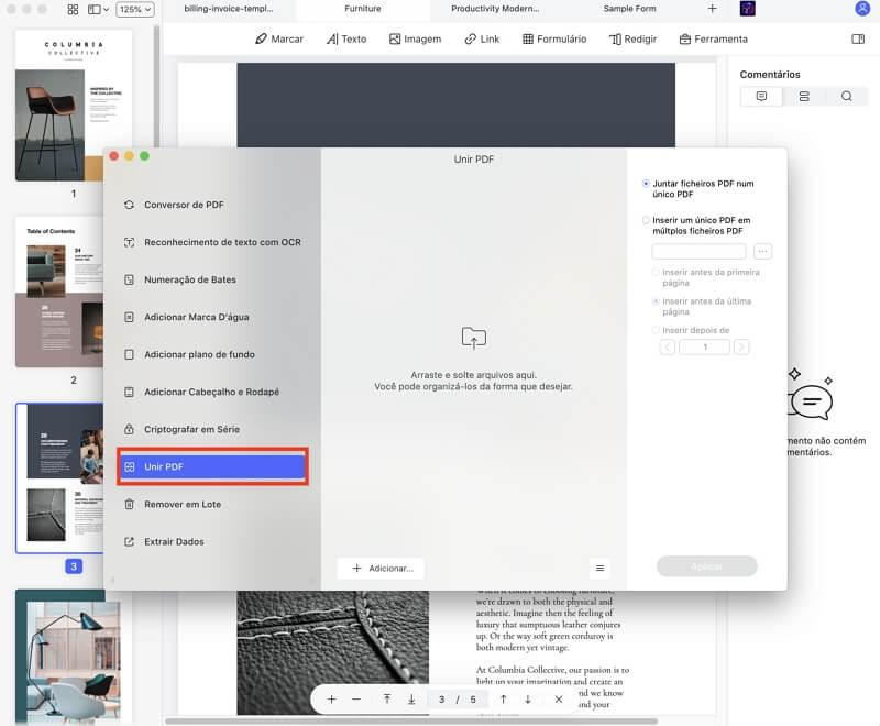 criar um pdf a partir de vários arquivos no mac