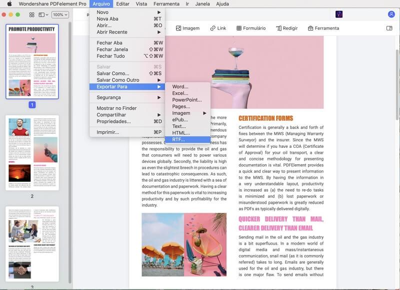 rich text format para pdf