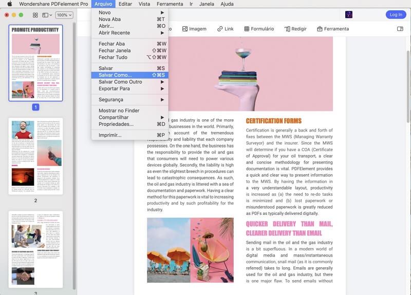 consertar pdf borrado no mac