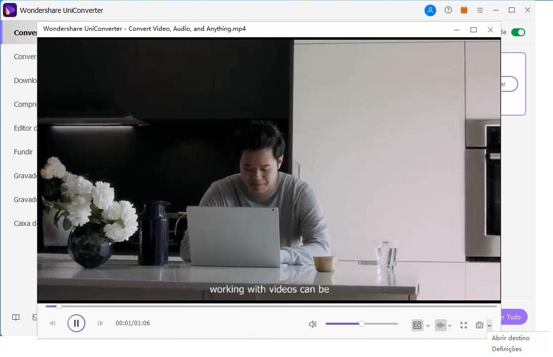definições de personalização de vídeo para JPG