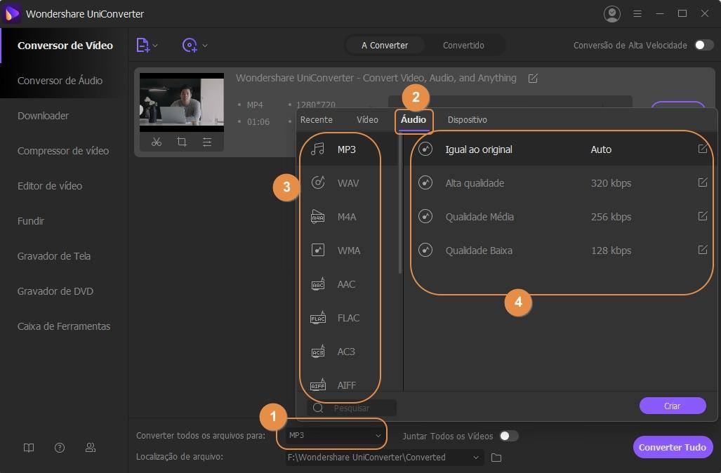 escolha converter vídeos para MP3