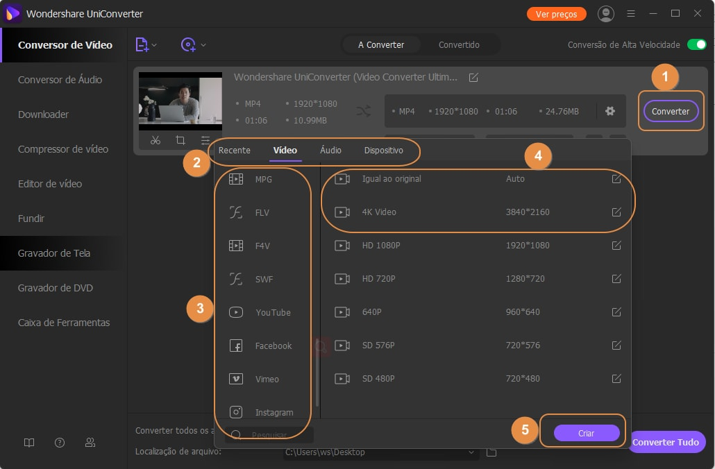 Select files to adjust video frame rate